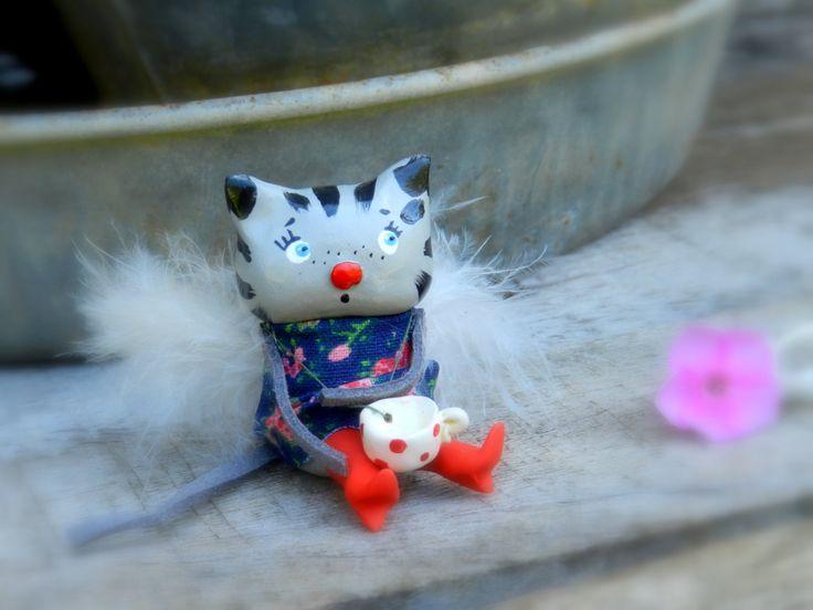 Cat figurine, clay cat,polymer clay animal, cute animal, angel, Kitty angel with tea cup polymer clay figurine by malinkaartz on Etsy