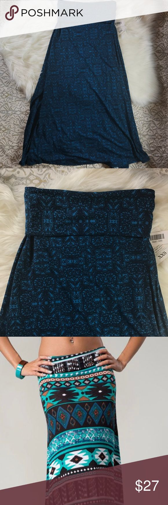 LulaRoe Navy Blue & Teal Moroccan Maxi Skirt NEW ✨New With Tags Navy & Teal Maxi                        ✨Size XXS. THIS SKIRT RUNS LARGE, IT IS RECOMMEND YOU SIZE DOWN 1-2 SIZES✨.       ✨Our Maxi skirt is a go-to piece for the woman who wants to be comfortable throughout the day but still likes to look her best. It's perfect for the woman whose demanding day requires function and style from her wardrobe. The LuLaRoe Maxi Skirt can easily be worn while playing on the ground with kids and…