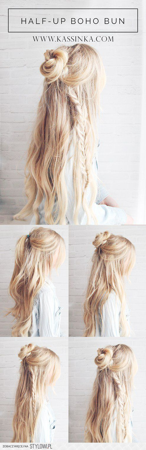 » Half-up Boho Braided Bun Hair TutorialKassinka na Stylowi.pl