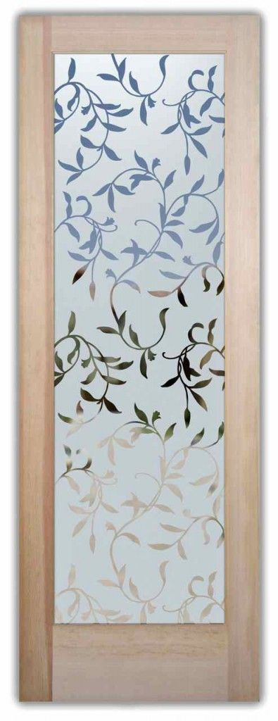 Glass Entry Door Etched Vines Leaves Bathroom