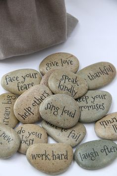 MESSAGE STONES Motivational Affirmative Stones by PETITmiracles