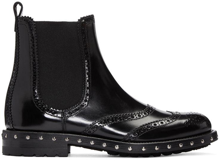 Dolce & Gabbana: Black Brogue Boots | SSENSE