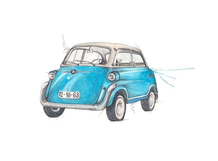 """Miniatyrbil BMW Isetta"" (Vintage miniature car)  Copyright: Emmeselle.no  Illustration by Mona Stenseth Larsen"
