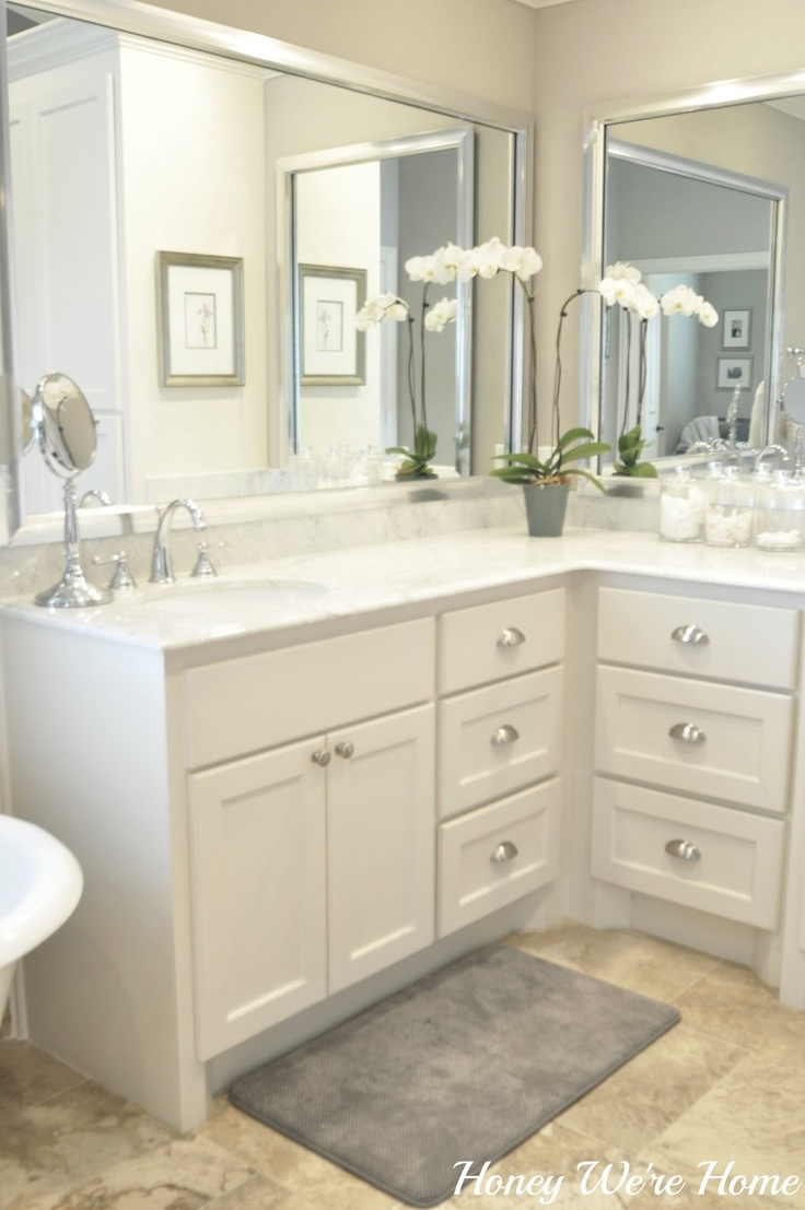 honey we re home master bath sherwin williams anew gray carrara marble silver framed mirrors