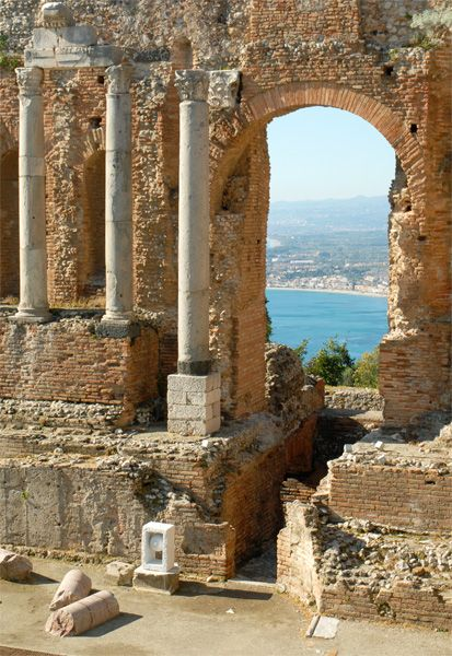 Taormina, Sicily, province of Messina. This ancient amphitheater was something to see but the views from the site were beyond description!...slj