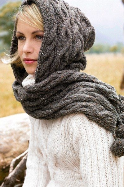 If only I could knit... My Mom had a scarf-slash-hood like this when I was a kid. It was cream colored and I always liked it.