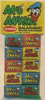 Aku Ankka -salmiakkipurkka 70-luvulta.