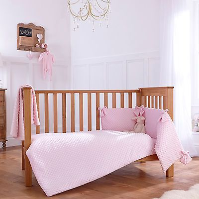 NEW CLAIR DE LUNE DIMPLE PINK COT / COT BED 2 PIECE QUILT AND BUMPER GIFT SET