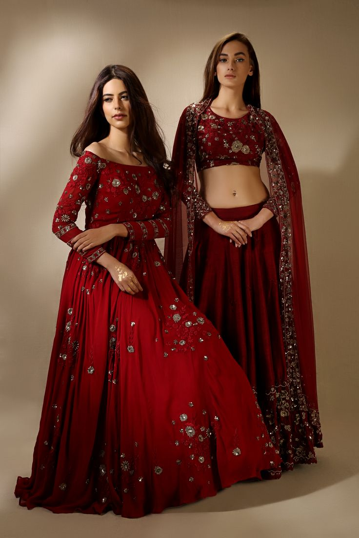 Indian Red & Gold Dresses/Lehenga Cholis | Beautiful & Elegant | Designed by Asthana Rang