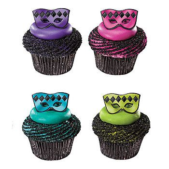 Our Masquerade Mask Cupcake Rings feature half mask rings in bright and trendy colors of purple, pink, teal, and lime green.