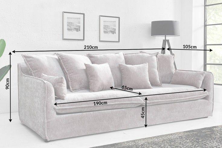Hussensofa 3 Sitzer 210cm Taupe Samt Riess Ambiente De 3er Sofa Sofa Grosses Sofa