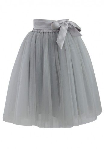 Amore Tulle Skirt in Grey - not a grey fan, but it would look really cute with a pink top...