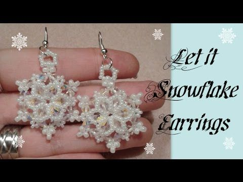 Project of the day: Beaded sbowflake earrings. Enjoy! PDF file of this tutorial: https://www.etsy.com/nl/listing/212410761/beading-pattern-let-it-snowflake? ...