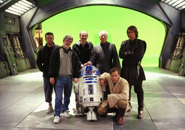 George Lucas, Ewan McGregor, Ian McDiarmid and Hayden Christensen in Star Wars: Episode III - Revenge of the Sith