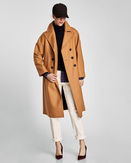 Image 1 of LONG OVERSIZED COAT from Zara