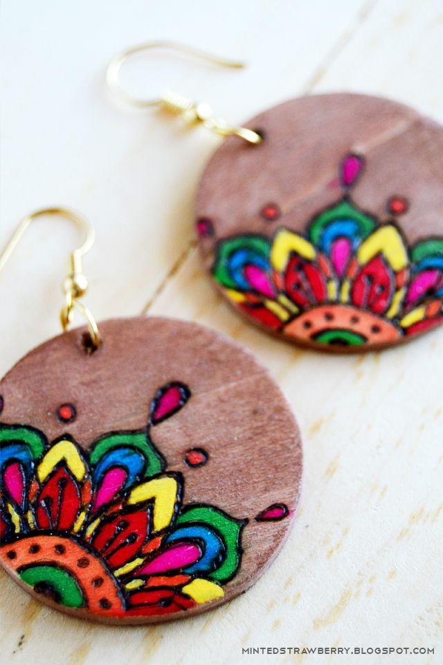 Woodburned earrings