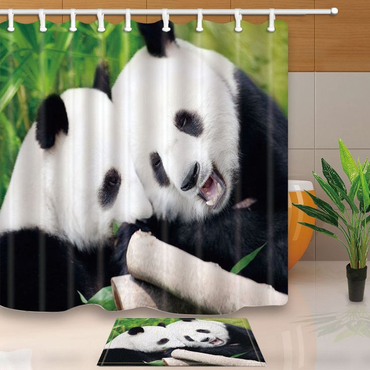 Animal Fabric Shower Curtain Set Panda In Forest Bathroom Curtain With Hooks