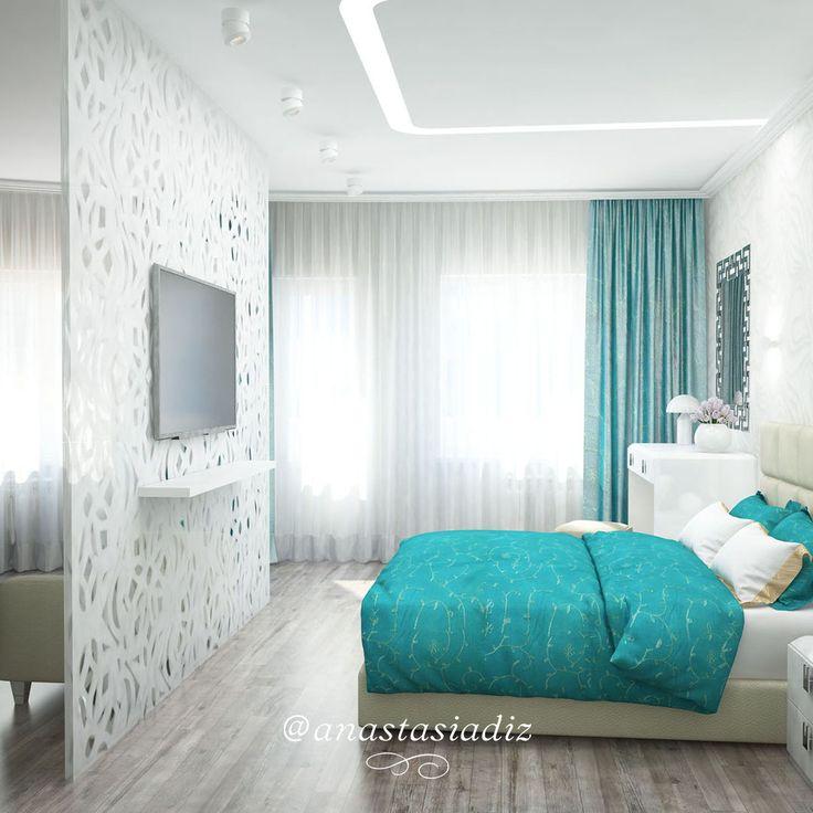 Цветовая гамма решена сочетанием белых и бирюзовых полутонов. Мягкое покрытие стены у кровати позволяет удобно расположиться полусидя, а обилие и разнообразие осветительных приборов обеспечивает широкий выбор режимов для достижения максимального комфорта. Полукруг окон мы декорировали воздушным тюлем. #русскиедизайнеры #инстаграм #стиль #красота #дизайнстудия #дизайнпроект #дизайнквартиры #дизайндома #дизайнер #дизайн #студия #интерер #проект #bestinterior #interiorlover #interiordesign…