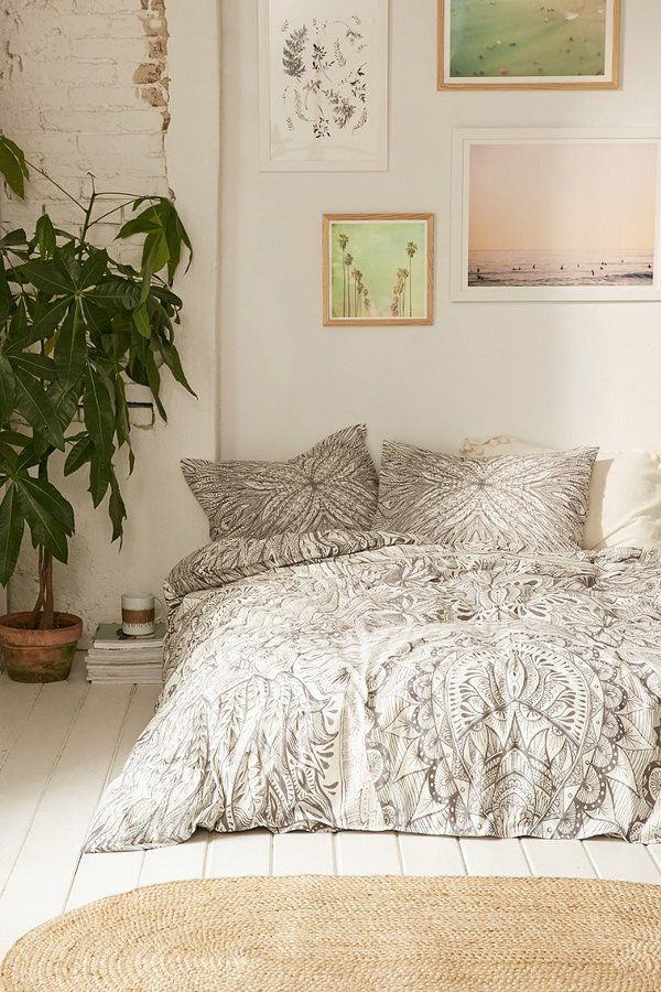 Pretty medallion motif duvet cover from UO's own romantic Plum & Bow collection. Features allover stencilinspired design with floral detailing on soft cotton for a cozy addition to any bedding.