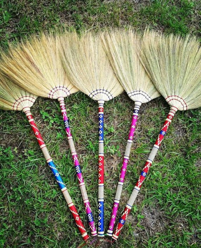 37 38 Inch Thai Traditional Grass Broom Lanna Style Bamboo Cover Woven Fabric Handle Hand Grip With Rope Cleaning Dust Garbage Soft Broom Straw Broom Broom