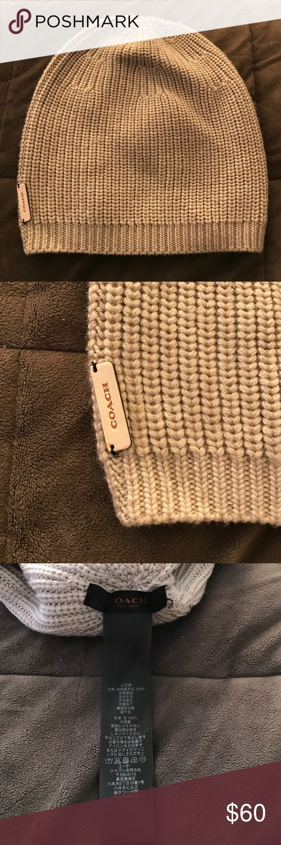 COACH Legacy Beanie AUTHENTIC COACH Legacy Beanie.  Grey knitting with leather patch.  NEW without tags.  Slouchy style is perfect year-round! Coach Accessories Hats