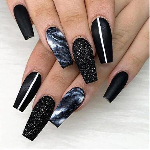 Nails Design 2 Pcs Set Nail Glitter Powder Dipping Black White