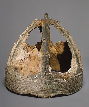 6th century spagenhelme (strap helmet).  Thought to have been made in or around Ravenna, the capital of the Ostrogothic kingdom in Italy, as diplomatic gifts for foreign rulers, and have been found at sites ranging from Sweden and Germany to Yugoslavia and Libya. This helmet was discovered in the Saône River near Trévoux, France.