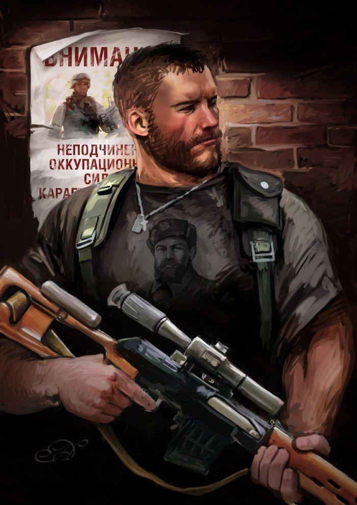 """Повстанец где-то на постсоветском пространстве, оказывающий сопротивление войскам НАТО (по всей видимости), сзади можно увидеть кусочек плаката, призывающего подчиняться оккупационным властям.   Картина в духе """"если"""" от Николая Дихтяренко"""