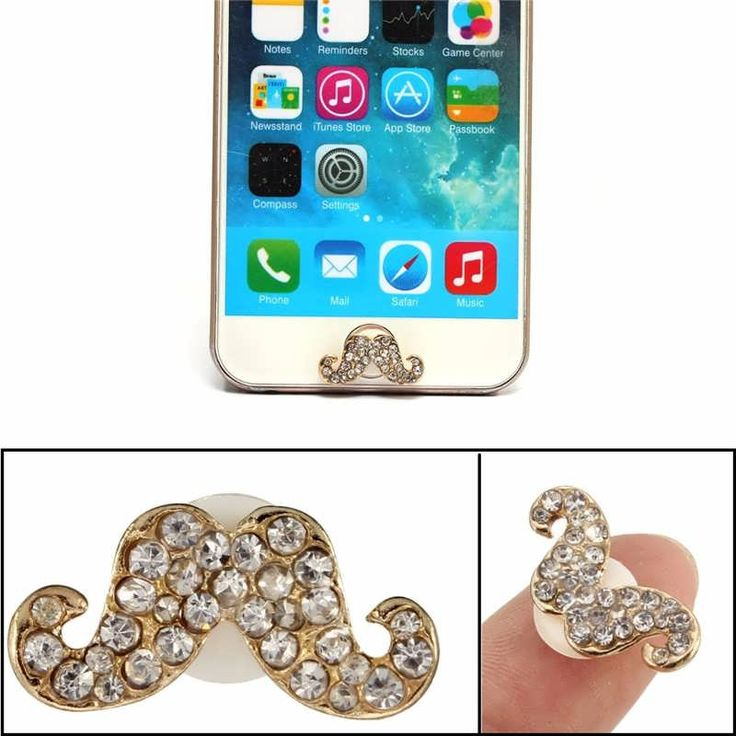 3D Crystal Diamond Mustache Home Button Sticker For iPhone 5 5S 6 6S Plus  Worldwide delivery. Original best quality product for 70% of it's real price. Hurry up, buying it is extra profitable, because we have good production sources. 1 day products dispatch from warehouse. Fast &...