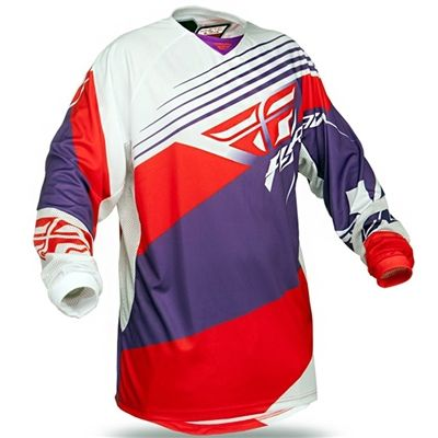 Camisa Fly Kinetic Blocks Off Road - Roxa / Vermelha - Masada Moto #flyracing