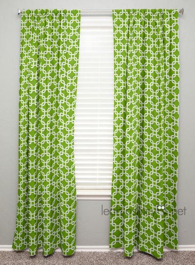 curtain panel lime green white square