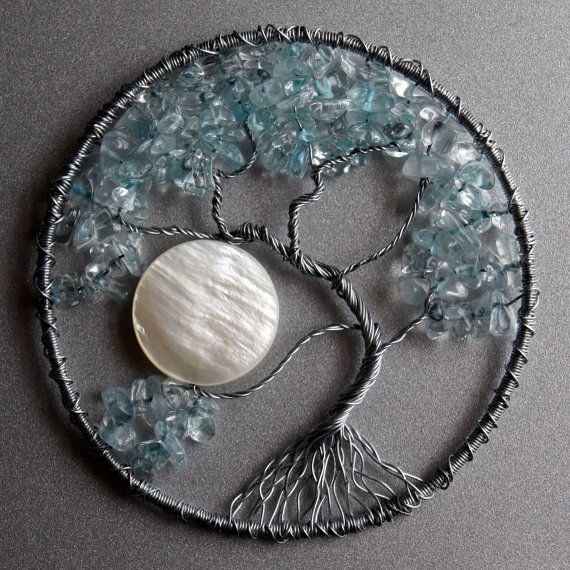 "favorite version ""tree of life"" motif thus far: use a bead or button for the moon, crystal/ rock beads, beading inside the frame"