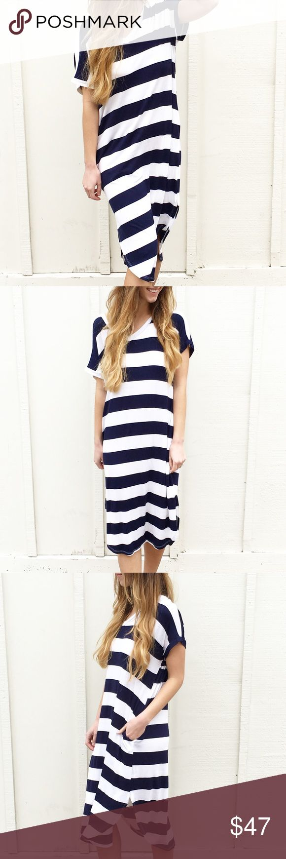 | new | oversized t shirt dress offers welcome new with tag navy and white striped t shirt dress with oversized fit and side pockets. •671497• Dresses Midi