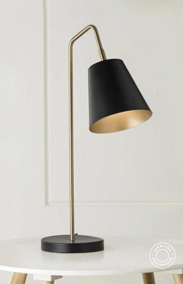 This Stunning Modern Black Table Lamp With Brass Stem Was Inspired By Mid Century Style It Is A In 2020 Modern Black Table Lamps Bedside Table Lamps Brass Table Lamps