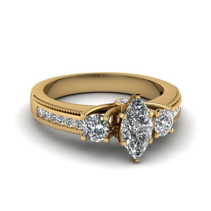 Yellow Gold 3 Stone Diamond Ring