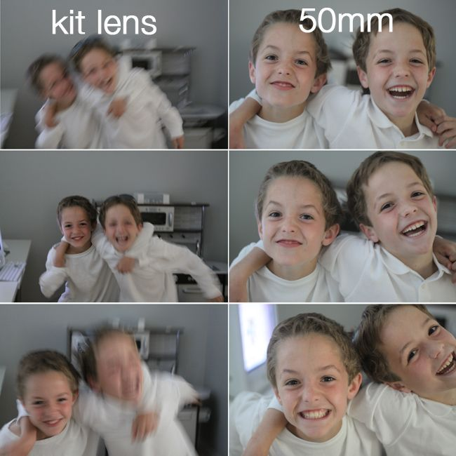 "Excellent comparison to show how nice the ""Thrifty Fifty"" fixed 50mm lens does for lower light, indoor portrait photos.  Worth the read if you are thinking about buying one. Then you'll buy one. :)"
