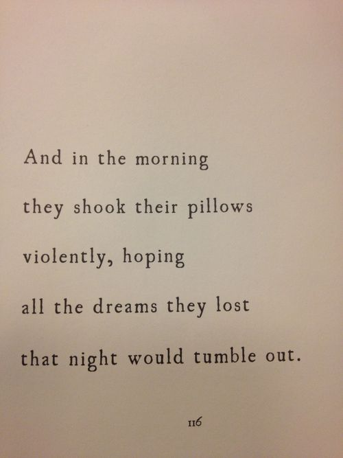 And in the morning they shook their pillow violently, hopin all the dreams they lost that night would tumble out