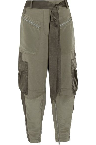 3.1 Phillip Lim - Cropped Silk Satin-paneled Twill Pants - Army green - US12