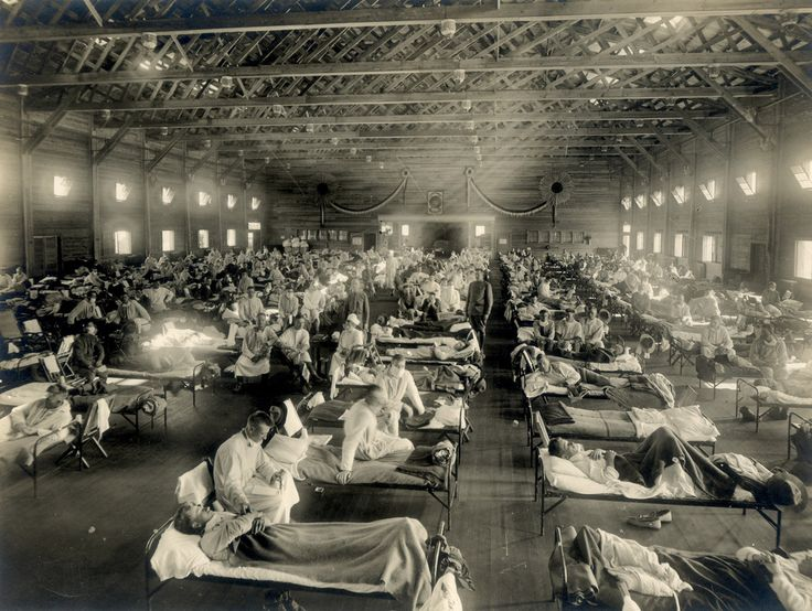 """Emergency hospital during influenza epidemic, Camp Funston, Kansas, 1918 [[MORE]] From the Wikipedia link: """" The 1918 flu pandemic (January 1918 – December 1920) was an unusually deadly influenza..."""