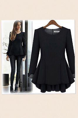 Women's Black,Beige Peplum Mullet Blouse Top. NW Size XL- 4XL