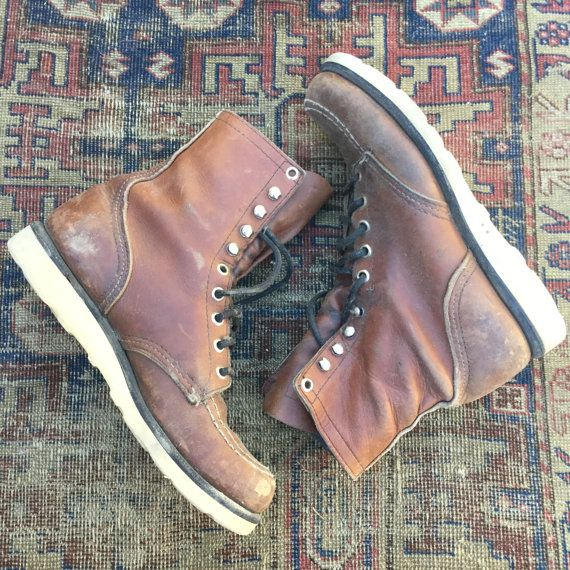 vintage Red Wing BOOTS shorty Booties sz 6 Men 8 8.5 Women brown Leather original Vibram soles Logger boots Unisex shoes Distressed lace up