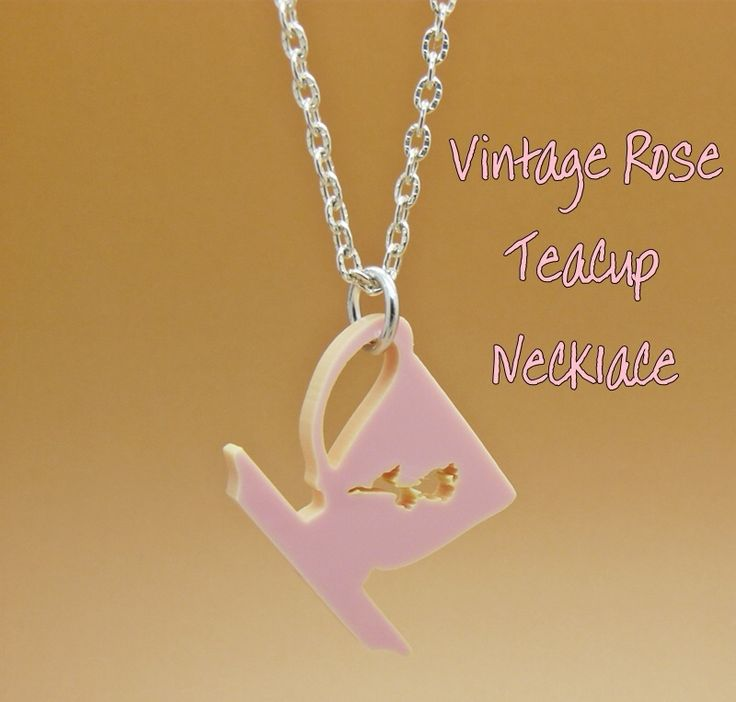 Product description for Vintage rose teacup chsrm necklace