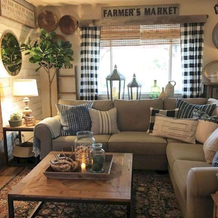 74 Amazing Rustic Farmhouse Style Living Room Design Ideas