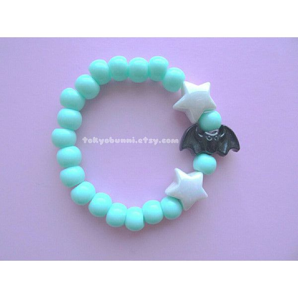 Mint Bats and Stars Bracelet -Creepy Cute- Lolita- Kawaii- Gothic-... ($4.50) ❤ liked on Polyvore featuring jewelry, bracelets, gothic jewellery, gothic jewelry, mint jewelry, beaded jewelry and star bangle