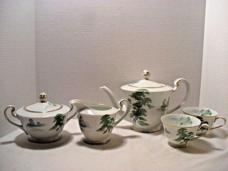 Unusual Vintage Noritake China Japan Ming Tree 1953 Discont. Tea Set 5 Piece  #Noritake