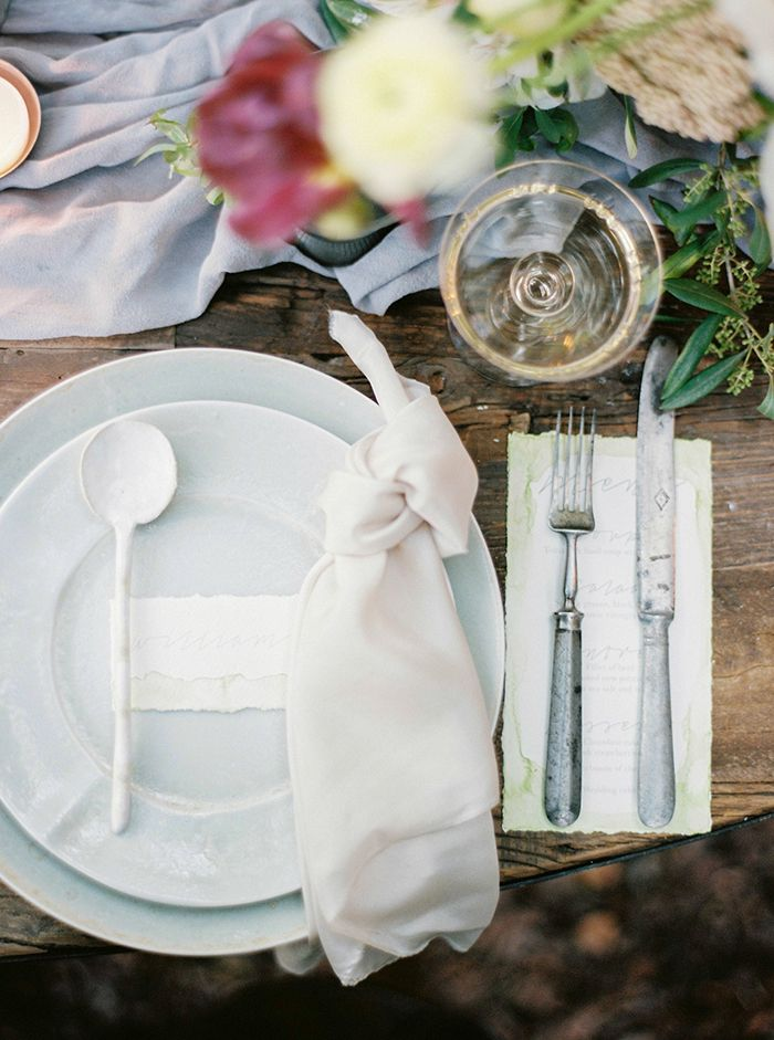 Earthenware Place Setting with Antique Silver Flatware