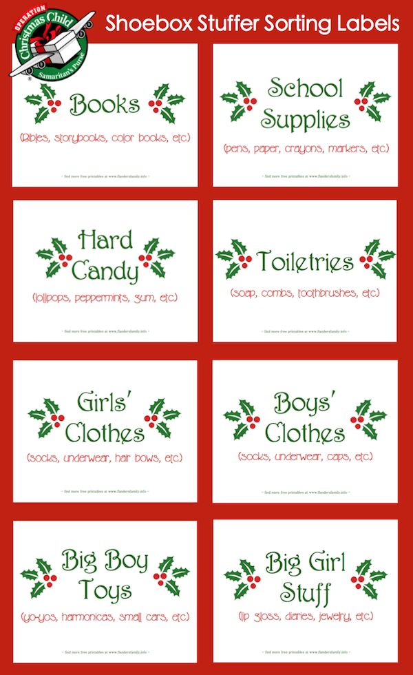 sorting labels for shoebox stuffing party - Operation Christmas Child Packing List