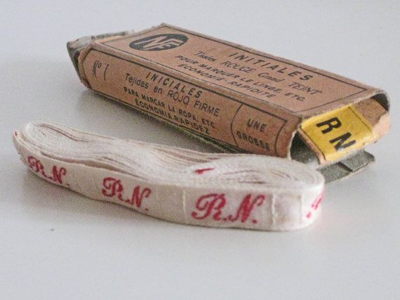 Laundry labels, unused woven French name labels, box of  vintage linen markers from Histoires on Etsy #laundry #initials #histoires #etsy