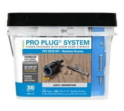 Deckfast Pro Plug System For Pvc Decking Kit, With 305 Stainless Steel Screws, For Azek Brownstone (300 Square Feet)