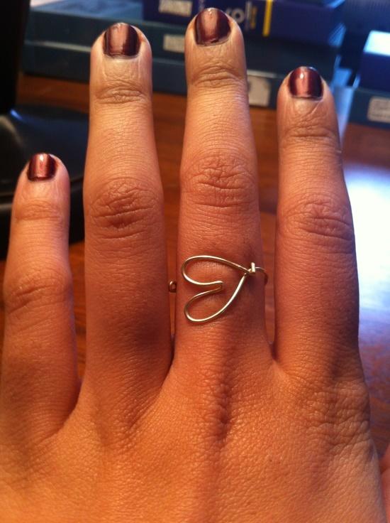 DIY wire jewlery - heart ring
